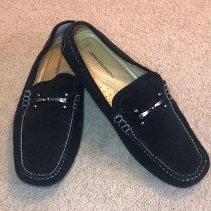 Johnston & Murphy sheepskin flex suede loafers